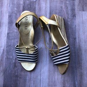 Anyi Lu Striped Navy Wedge Sandal Espadrille